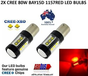 2 X BAY15D 1157 80W RED CREE CAR LED BRAKE STOP TAIL LIGHT BULBS ERROR FREE