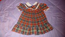 Vintage Plaid Pleated Little Girls Dress Size 3T