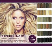 "20"" Full Head Premium Clip in Human Hair Extensions"