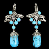 Briolette Blue Turquoise 16x9mm Marcasite 925 Sterling Silver Earrings