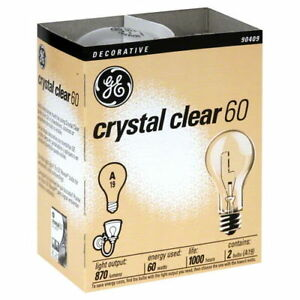 20- NEW GE 97490-20 60-Watt Crystal Clear Incandescent A19 Light Bulbs