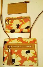 Relic by Fossil 3pc multicolored canvas w/ leather trim crossbody & wallets