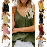 Fashion Womens Solid V-neck Camis Vest Sleeveless Button Shirt Blouse Tank Tops