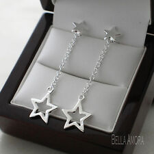 Pretty 925 Stamped Sterling Silver Plt Star Drop Dangle Earrings -138