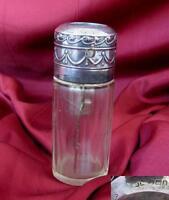 1907 ANTIQUE ART NOUVEAU CRYSTAL GLASS PERFUME BOTTLE w/SILVER CAP & PUMP
