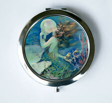 Mermaid holding a Pearl Compact Mirror Pocket Mirror art nouveau deco victorian