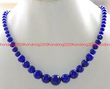 6-14mm Faceted Blue Sapphire beads Gemstone Necklace 17""
