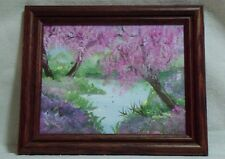 New listing Beautiful Framed Signed Hand Painted Water Pond Trees Floral Nature Scene 12X10