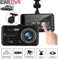 4'' Touch Screen 1080P Car Camera Dual Lens Parking Mode Dash Cam Recorder 170°