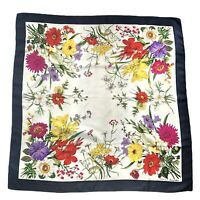 80's Vintage Gucci Accessory Collection Square Silk Scarf Floral Authentic Navy