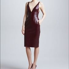 J. Mendel Leather Dress $2950 Burgundy NEW Size 4