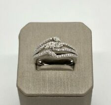 18k Solid Russian White Gold Coctail Ring Genuine Diamonds Marquise Round