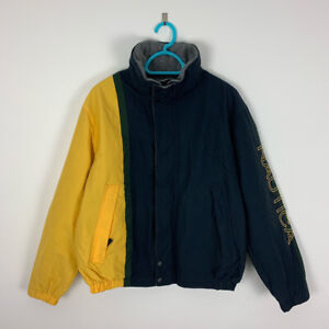 Vintage Nautica Spellout Colour Block Windbreaker Jacket with fleecy inside