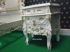 2 x Rococò CASSETTONE INTARSIATO... COMODINI... biancastro/Crema con dettagli oro