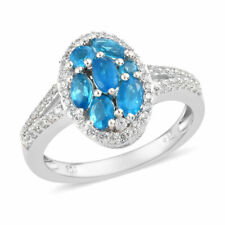 Neon Apatite Cluster Ring in Platinum Over Sterling Silver (Size 8) 1.79 ctw
