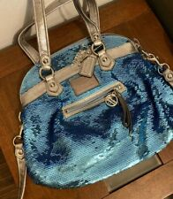 Coach Poppy Spotlight Blue Sequin Satchel Bag Handbag Limited Edition Rare