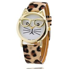 Fashion Cute Glasses Cat Analog Quartz Dial Leather Wrist Watch for Women's Gift Leopard