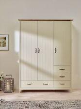 Steens Norfolk Solid Painted Cream & Oak Panelled 3 Door Drawer Wardrobe Robe