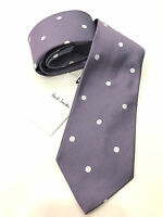 Paul Smith Tie Mauve with Silver Spots 100% Silk Woven Made in Italy