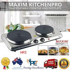 Portable Electric Hot Plate Dual Burner Cooktops Hotplate Cooking Caravan Travel
