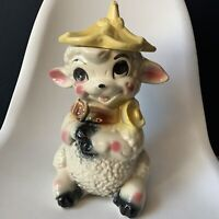 Vintage American Bisque Boy Lamb with Yellow Hat Cookie Jar VTG Collectible