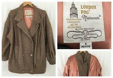 Women's Vintage London Fog Size 8 Petite Beige Tweed Wool Peacoat Herringbone