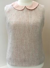 *NEW* RRP £65 Laura Ashley Pink Tweed Effect Sleeveless Top Size 18  #JT52