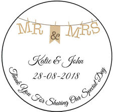 35 x Personalised Wedding Labels Stickers Seals Favour Bunting S50
