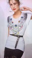 T-shirt maglia maniche corte bianca in viscosa stampa collana Denny Rose