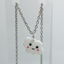 Cute happy clouds Pendant Kitsch F141 Silver Plat  Necklace