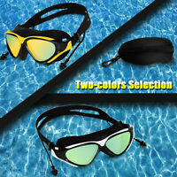 Adult Mirror Swimming Goggles Anti-Fog UV Protection Swim Glasses With Ear Plug