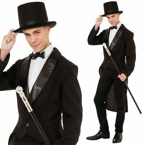 Adult Black Tailcoat Victorian Charlie Chaplin Mens Gents Circus Ringmaster New