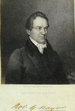 "1834 Original US Senator Robert Y. Hayne Copper Plate Engraving 6 1/2"" X 10 1/8"""