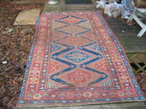 SUMMERS END SALE! ANTIQUE LATE 19TH C. AUTHENTIC MIDDLE EASTERN RUG 4.5X8.1