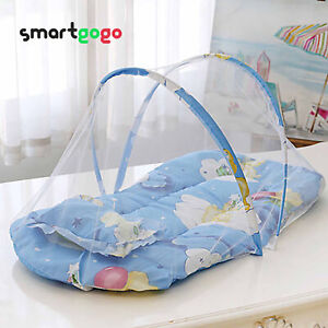 Summer Folding Crib Mosquito Net Baby Travel Bed With Cotton Cushion Pillow BSG