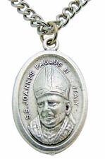 """St John Paul II Medal 3/4"""" L w/ 24"""" Stainless Steel Chain Made in Italy"""