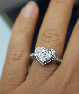 Estate Jewelry Solid 9K Gold Heart Shape Ring Natural Diamond Art Jewellery N1/2