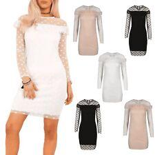 Womens Mesh Sleeve Polka Dot Keyhole Back Ladies Bodycon Peplum Frill Mini Dress