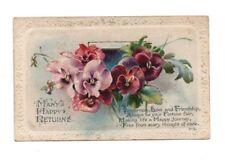 Vintage Birthday Greetings Postcard - Many Happy Returns - Franked 1919