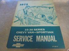 Vintage 1972 Chevrolet Chevy Van Sportvan Service Manual