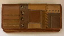 Vintage FOSSIL Leather Double Flap Patchwork Clutch Wallet Brown Tan EUC