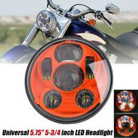 5,75'' pouces LED Phare rond de moto Lampe Frontale Orange Universel Pour Yamaha