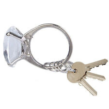 Clear Super Big Fake Diamond Crystal Ring Keychain Delicate Wedding Favors