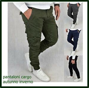 pantaloni cargo da uomo slim invernali con tasche laterali militari tasconi blu