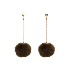Faux Fur Pom Ball Stud Clip On Earrings Retro Cute Disco 80's Pop Style Fashion