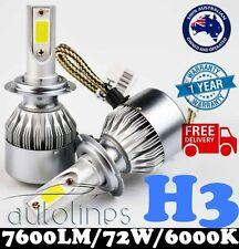 H3 72W 7600LM LED White 6000k Halogen Car Headlight Xenon Globe Bulb Kit HID