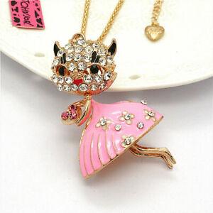 Cute Crystal Pink Enamel Flower Skirt Cat Pendant Betsey Johnson Chain Necklace