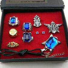 Black Butler Kuroshitsuji Ciel Phantomhive Cosplay Rings+Necklace+Ear-nail Set