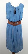 Kleid 44 46 blau sommerliches leichtes Kleid ärmellos Made in Italy Ella Jonte