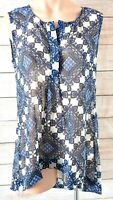 Katies Top Tank Shirt Blouse Size 12 Medium blue white sleeveless